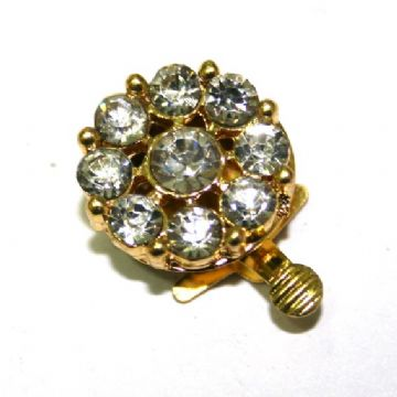 1 x 20mm Gold Plated Clip Clasp with Rhinestone -- S.FC01